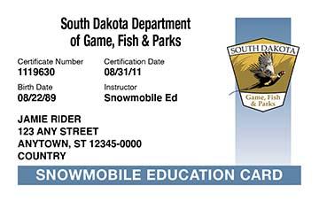 South Dakota safety education card